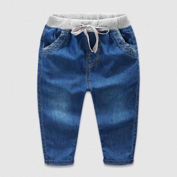 Knit Waist Denim Pants