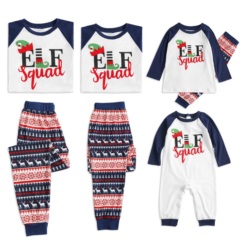 b7cbb5e8a5 Stylish Elf Squad Print Christmas Family Matching Pajamas Set at ...