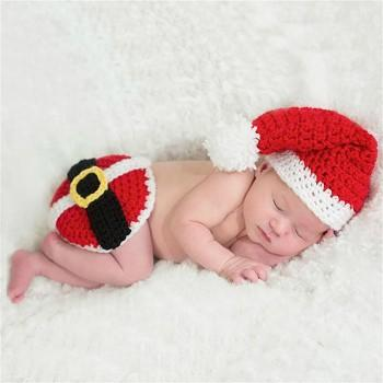 2 Pcs Red Knitting Christmas Photography Prop Sets