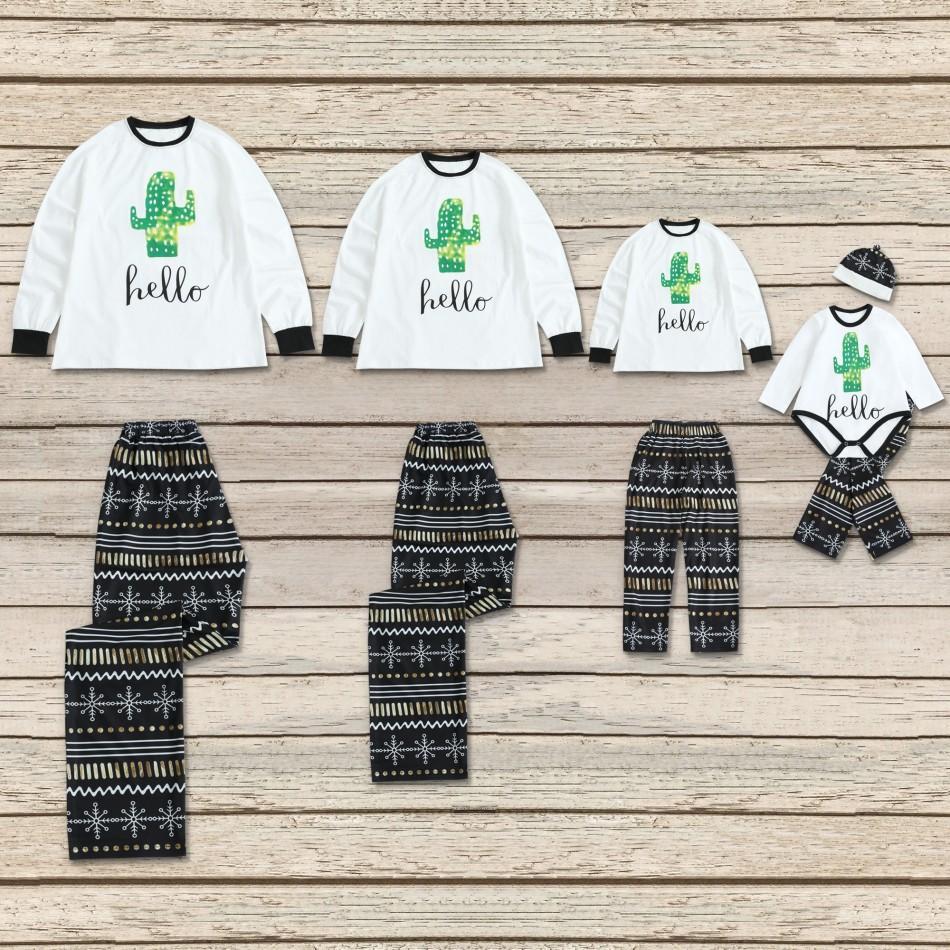 ceb9e937f Cactus 'hello' Print Long-sleeve Top and Snowflake Pants Lounge Set for  Family Matching
