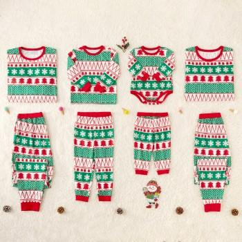 striped christmas pajamas with christmas tree for family