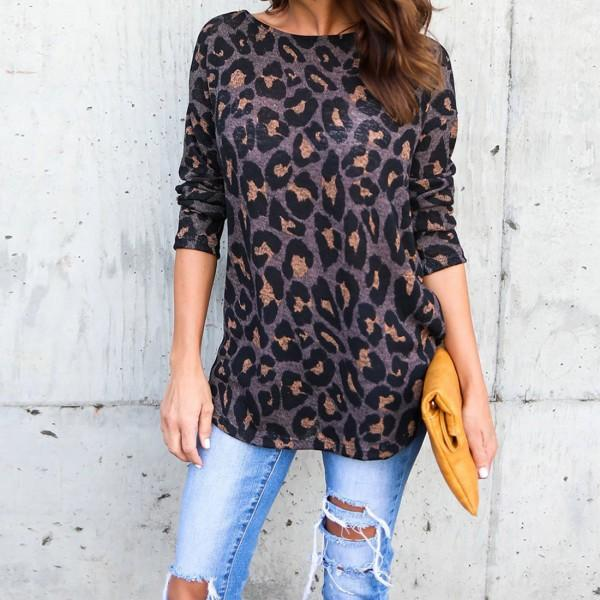Cool Leopard Backless Crossover Long-sleeve Top