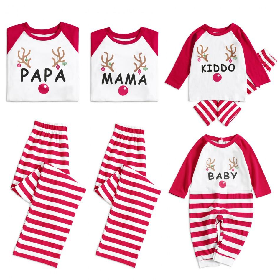 Christmas Deer and Letter Printed Red Stripe Pajama Set for Family ... c926633fa