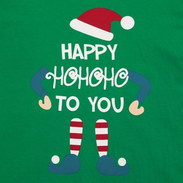 Cute Christmas Elf 'Happy to you' Print Top and Striped Pants Family Matching Pajamas Set