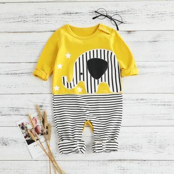Adorable Elephant Print Striped Long-sleeve Jumpsuit for Baby