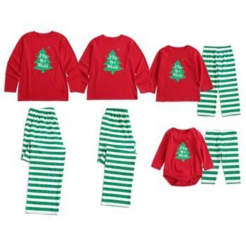 1c5b4c3a855e2f Christmas Family Matching Pajamas Christmas tree Print Top and Stripes Pants  Set