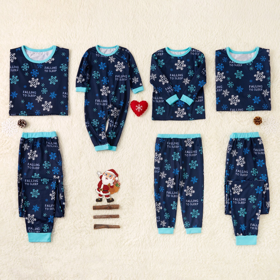 bcc7a20580af Sale Dark Blue Family Pajamas for Christmas with Snowflake Printed ...