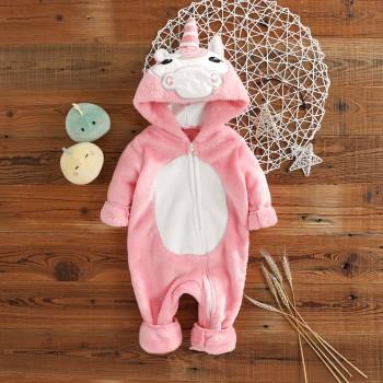 Super Cute Unicorn Design Hooded Jumpsuit for Babies