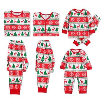 4c24377ed7 Cheerful Christmas Deer Tree and Snow Print Matching Family Pajamas Set