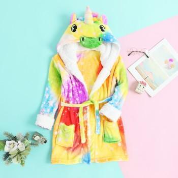 (Only 1 Left for 4-5Y)Fleece Unicorn Bathrobe