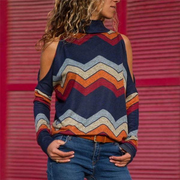 Fashionable Cold-Shoulder Wavy Stripes Long-sleeve  Top for Women