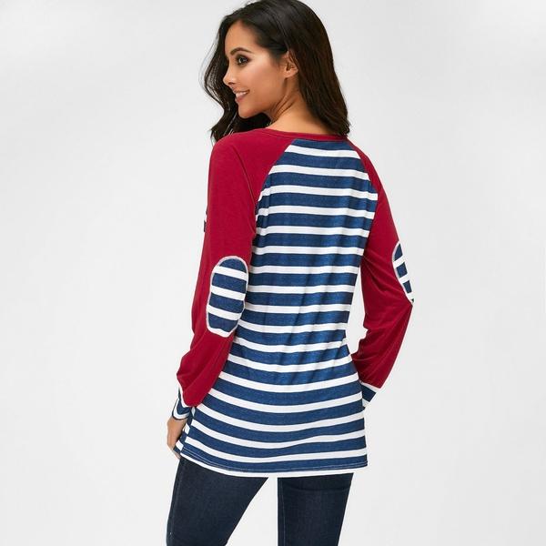 Women's Stylish Long Sleeve Stripe T-shirt