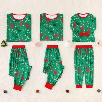 fdba8d278 Green Reindeer Printed Family Pajamas for Christmas