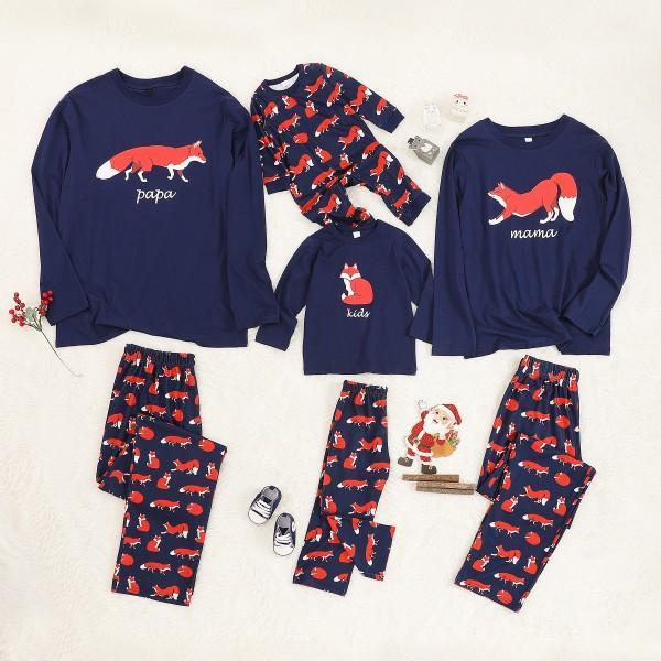 Lovely Comfy Family Fox Print  Pajamas Set
