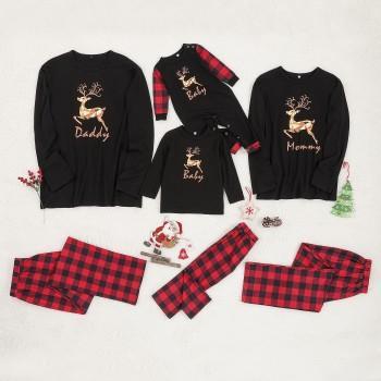 Christmas Reindeer Print Top and Plaid Pants  Family Matching Pajamas