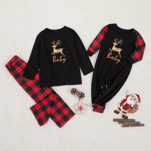 Christmas Reindeer Print Top and Plaid Pants  Family Matching Pajamas