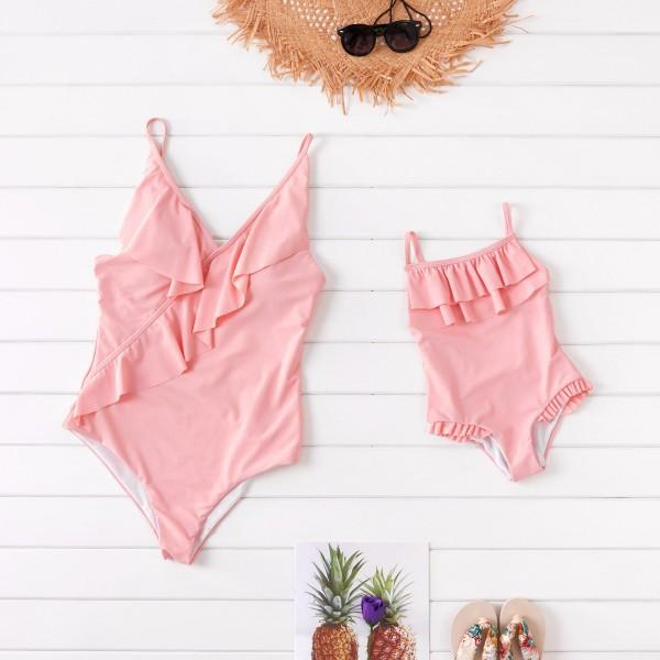 Mommy and Me Solid Color Ruffled Swimsuits