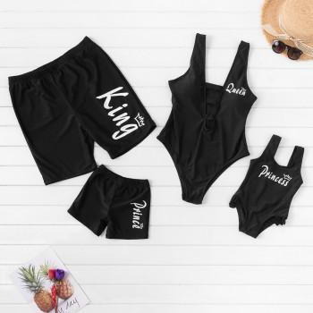Royal Letter Print Family Swimsuits