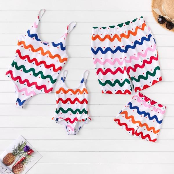 Rainbow Wave Stripes Family Swimsuits