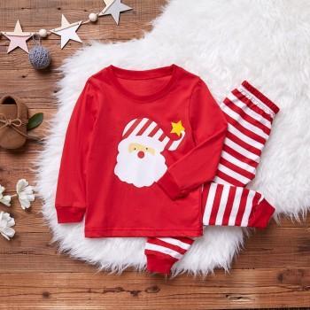 Santa Print Top and Striped Pants Set