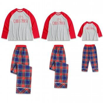 It's Christmas! Letter Print Plaid Matching Christmas Pajamas for Family