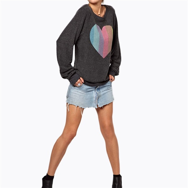 Colorful Striped Heart Long Sleeve T-shirt