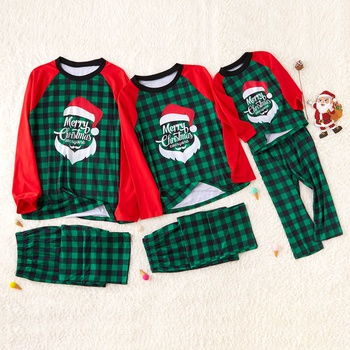 Green Plaid Family Matching Pajamas with Santa Printed