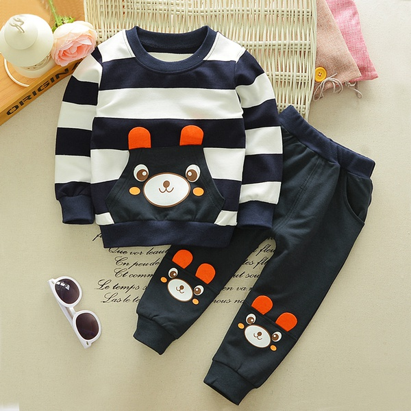 Cute Bear Stripe 2-piece Set