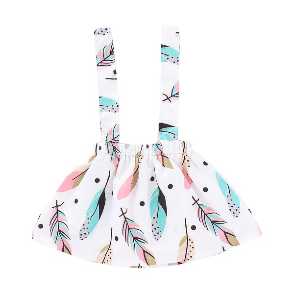 Ruffle Top Feather Print Suspender Skirt and Headband Set