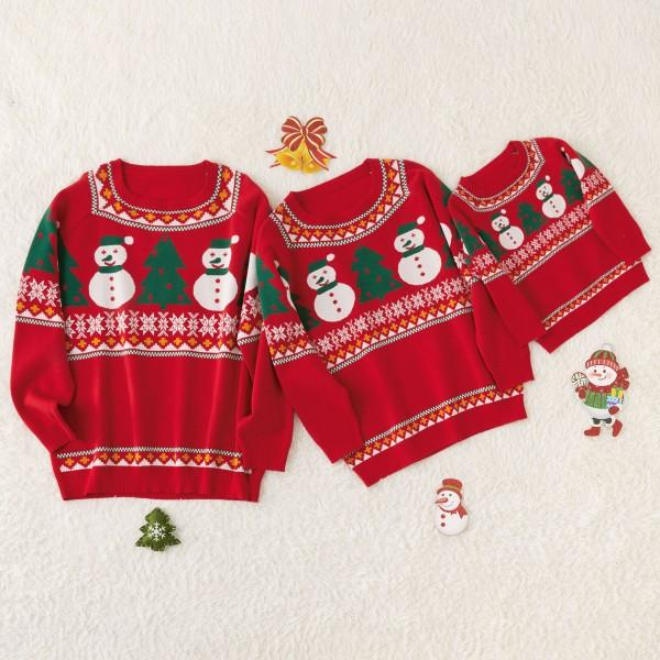 Christmas Snowman and Tree Family Cotton Knit Sweaters