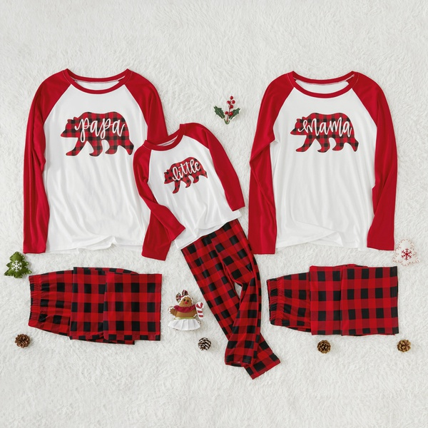 Bear and Plaid Family Pajamas Sets
