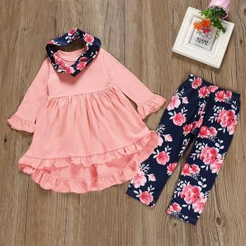 3 Pcs Ruffle Pink Tunic and Floral Pants and Scarf Set
