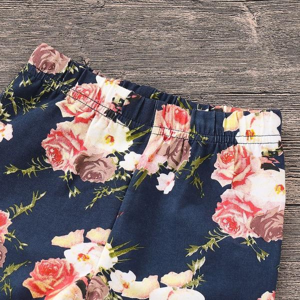 3 Pcs Beige Hoodie Floral Pants and Headband Set