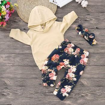 3 Pcs Beige Hoodie Floral Pants and Headband Set