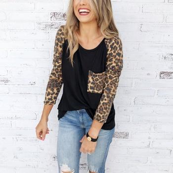 Cool Leopard Splice Sleeves Casual Tee For women