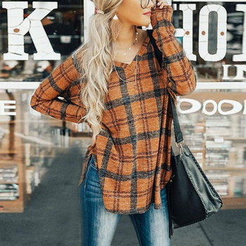 Fashionable Plaid Long-sleeve Top for Women