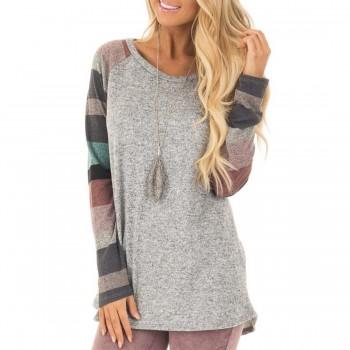 Colorful Stripe Shirt Round Neck Long-sleeve Top