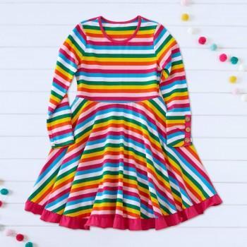 Mosaic Girls Rainbow Stripe Twirl  Dress