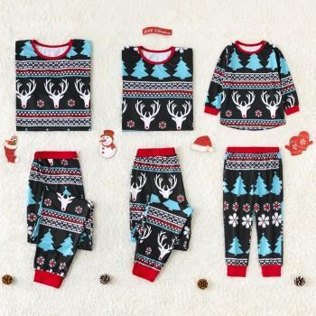 Blue Reindeer Printed Family Pajamas for Christmas 7d7a136da