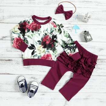 Trendy Floral Long-sleeve Top, Solid Pants and Headband Set