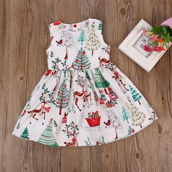 Stylish Christmas Deer Tree Print Sleeveless Dress for Baby and Toddler Girl
