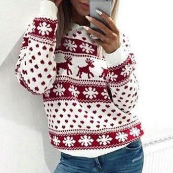 Snow Deer Heart Christmas Long-sleeve Sweater