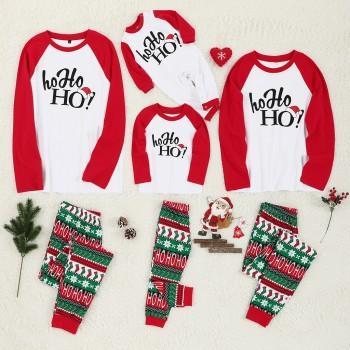 Cheerful Christmas Theme HOHOHO Print Family Matching Pajamas Set