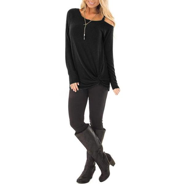 Women's Cold Shoulder Knoted Blouse Top