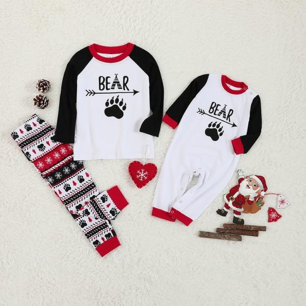 Christmas Family Bear Footprint Print Family Matching Pajamas