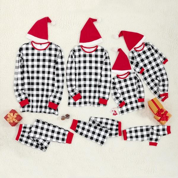 3 Pcs Plaid Christmas Family Matching Pajamas Set With Christmas Hat