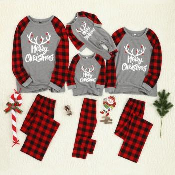 Merry Christmas Antler Letter Print Plaid Design Family Matching Pajamas Set