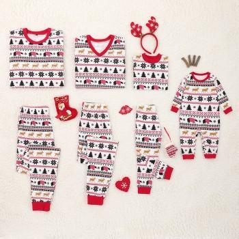 Christmas Theme Bear Deer Tree and Snowflake Pattern Family Pajama Set