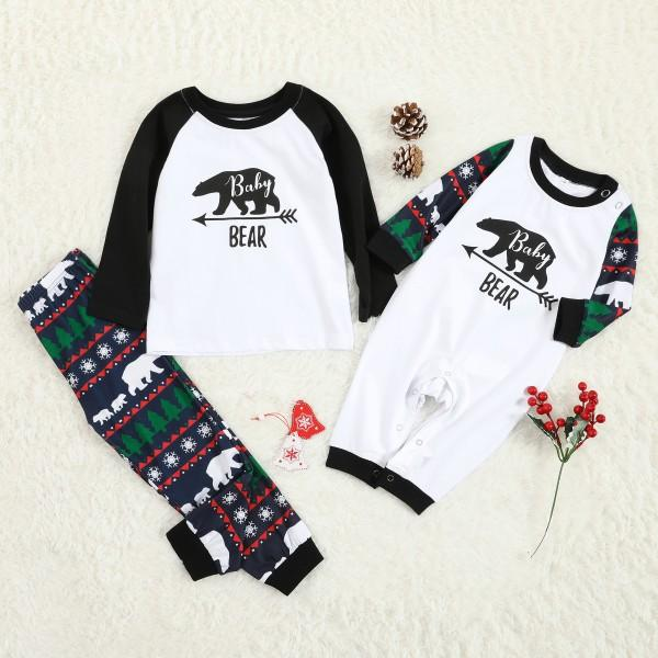 Christmas Bear Pattern Pajama Set for Family