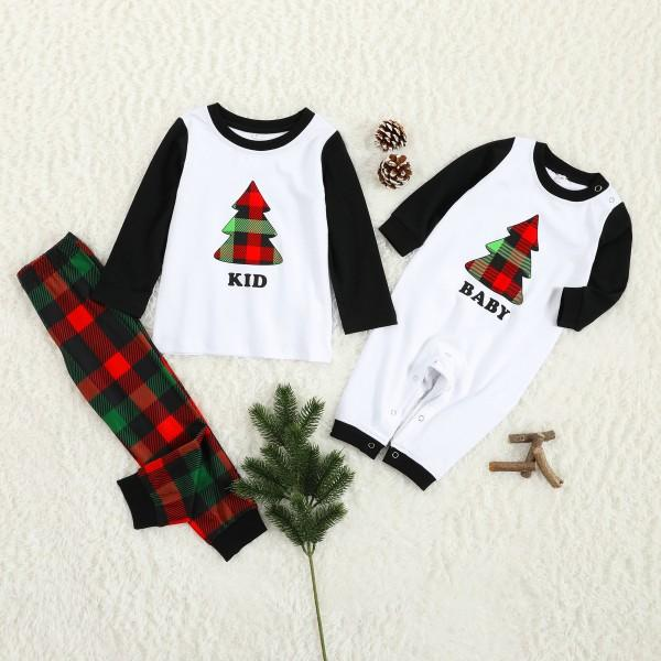 Merry Christmas Tree Print Plaid Design Family Pajama Set